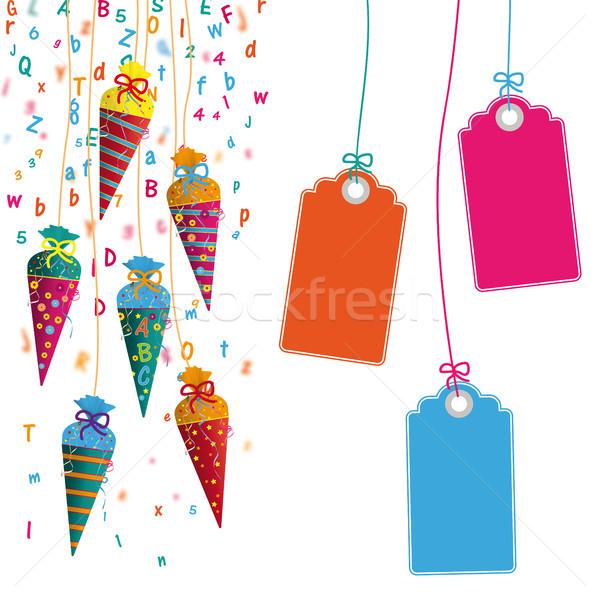 Gekleurd opknoping snoep brieven prijs stickers Stockfoto © limbi007