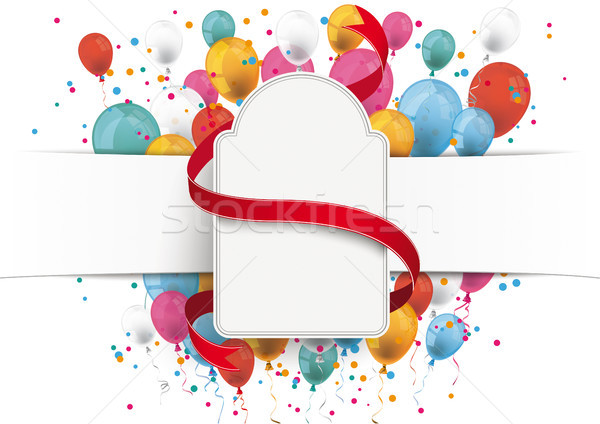 White Paper Banner Rectangle Emblem Red Ribbon Balloons Stock photo © limbi007