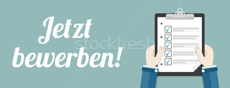Stock photo: Hand Clipboard Jetzt Bewerben Checklist Header