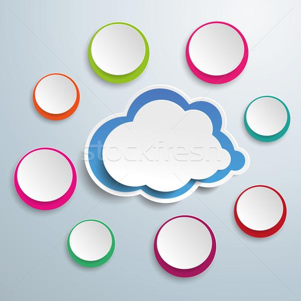 Blue Cloud With Colored Circles Stock photo © limbi007