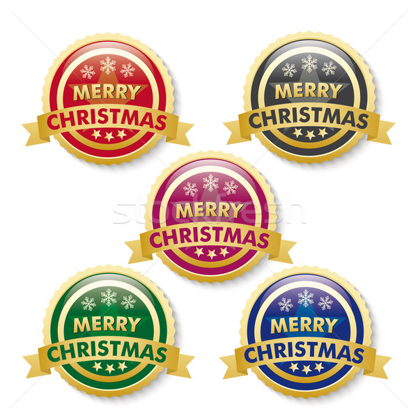 Merry Christmas 5 Golden Buttons Stock photo © limbi007
