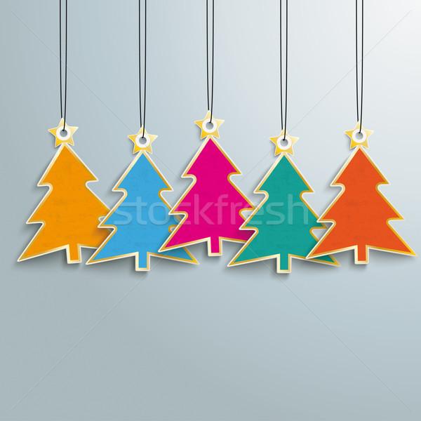 5 Colored Christmas Trees Price Stickers Stock photo © limbi007