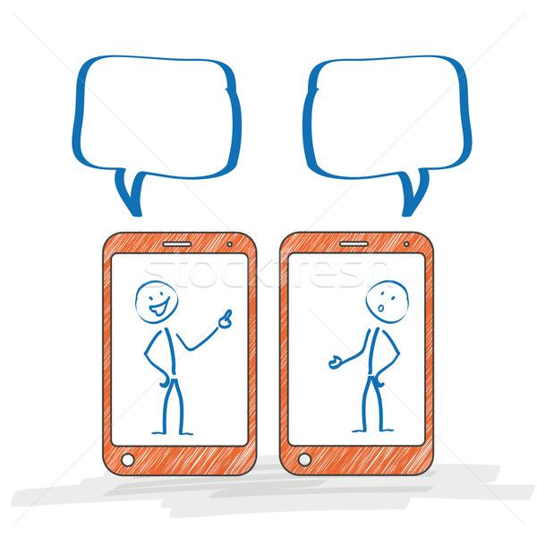 Stockfoto: Smartphone · discussie · smartphones · witte · eps · 10