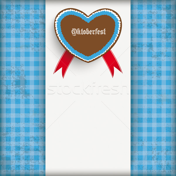 Vintage Blue Checked Cloth Centre Oktoberfest Heart Stock photo © limbi007