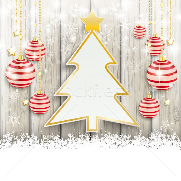 Snowfall Red Baubles Wood Christmas Tree Stock photo © limbi007