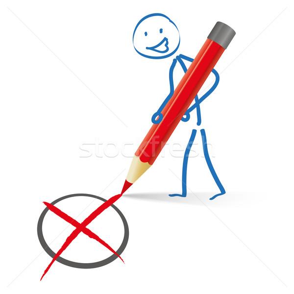 Rood pen stemming potlood witte Stockfoto © limbi007