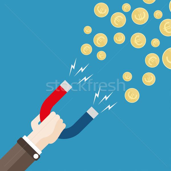 Flat Hand Magnet Money Euro Stock photo © limbi007