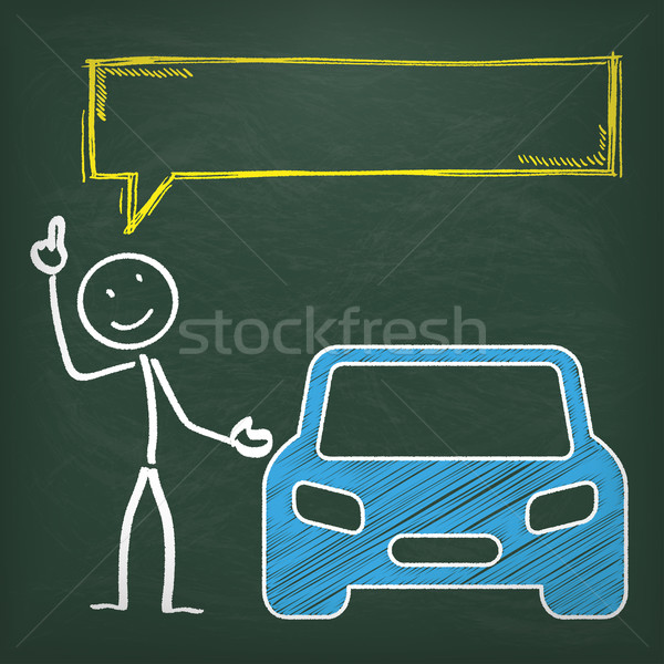 Blackboard Stickman Car Speech Bubble Stock photo © limbi007