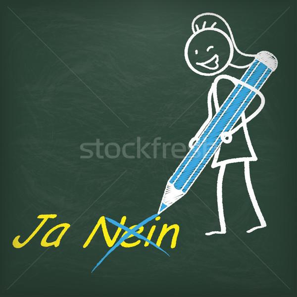 Blackboard Stickwoman Pen Ja Nein Stock photo © limbi007