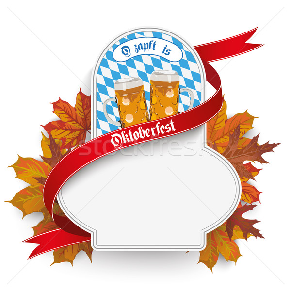 Bavarian Oktoberfest Flyer Emblem Beer Foliage Stock photo © limbi007