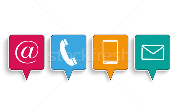 4 Contact Quadratic Speech Bubbles Stock photo © limbi007