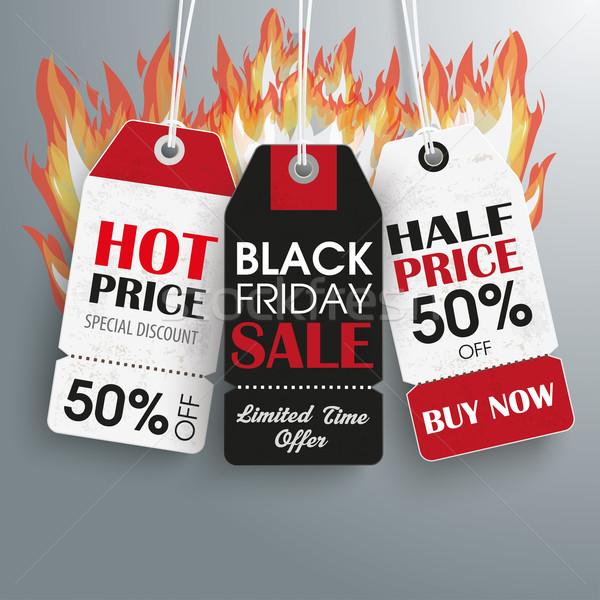 3 Black Friday Price Sticker Fire Stock photo © limbi007