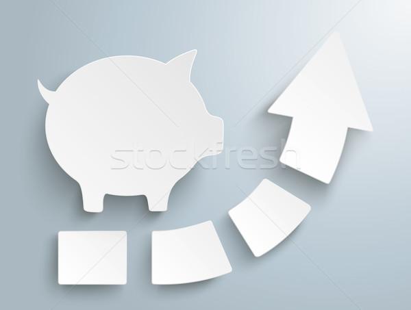 Groei pijl vier stukken spaarvarken witte Stockfoto © limbi007