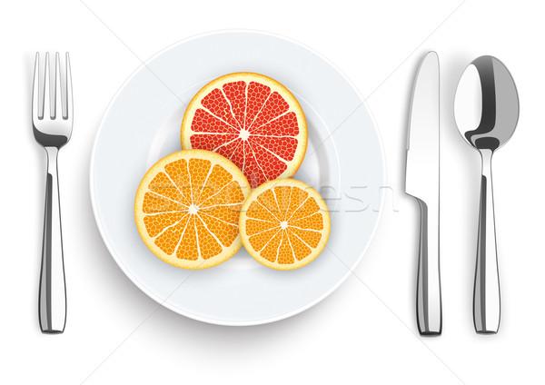 Knife Fork Spoon Plate Citrus Fruits Stock photo © limbi007