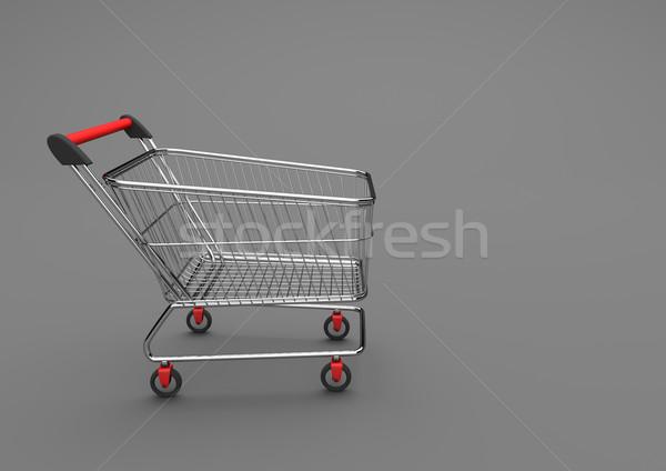 Warenkorb grau 3D-Darstellung Warenkorb rot Markt Stock foto © limbi007