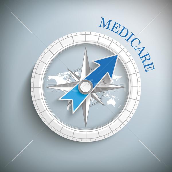Iránytű medicate szöveg eps 10 vektor Stock fotó © limbi007