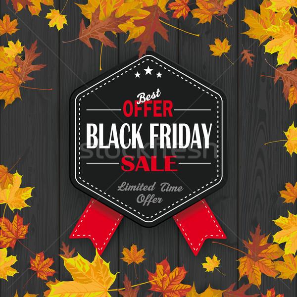 Stock photo: Black Friday Hexagon Emblem Ribbons Autumn Foliage Black Wood