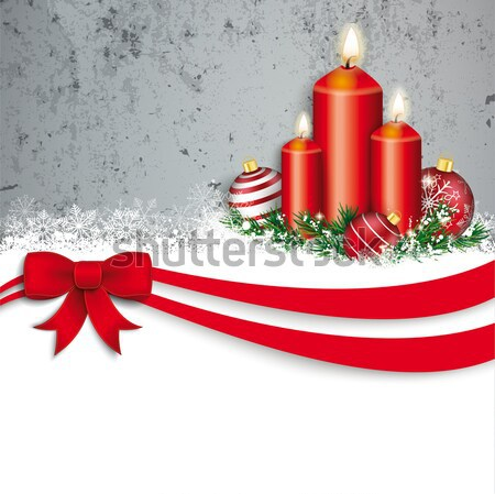 Concrete Christmas Red Baubles Snow Candles Clock 2017 Stock photo © limbi007