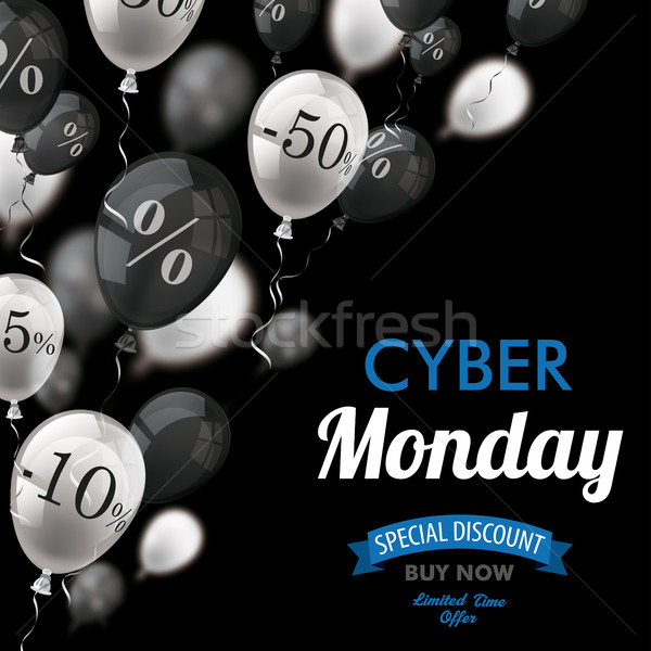 Cyber Monday Black White Balloons Percents Cover Stock photo © limbi007