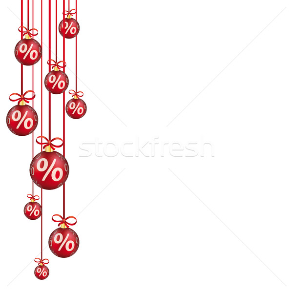 Red Christmas Baubles Red Ribbons Percents Stock photo © limbi007