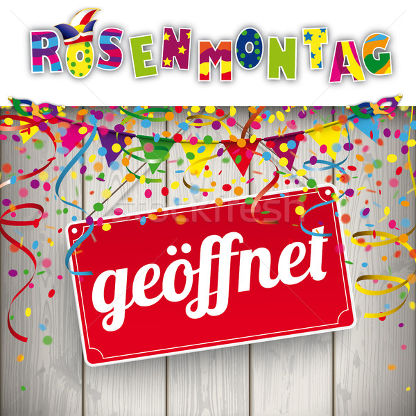 Rosenmontag Geoeffnet Confetti Ribbons Stock photo © limbi007
