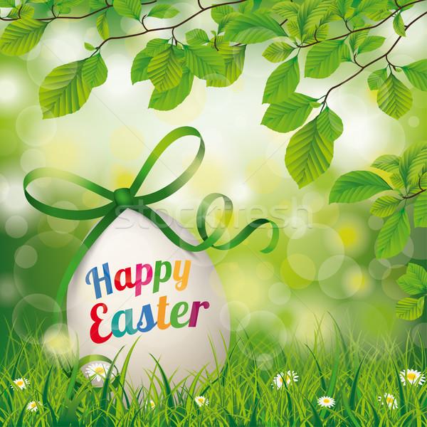 Happy Easter Egg Beech Twigs Flowers Stock photo © limbi007