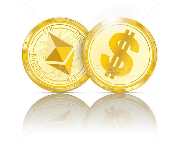 Golden Coins Ethereum Dollar Mirror Stock photo © limbi007