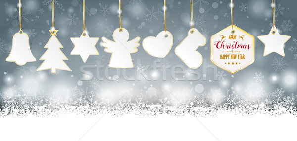 Gray Christmas Golden Price Stickers Header Stock photo © limbi007