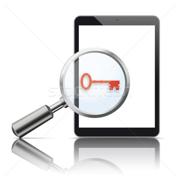 Black Tablet Loupe Mirror Mockup Key Stock photo © limbi007