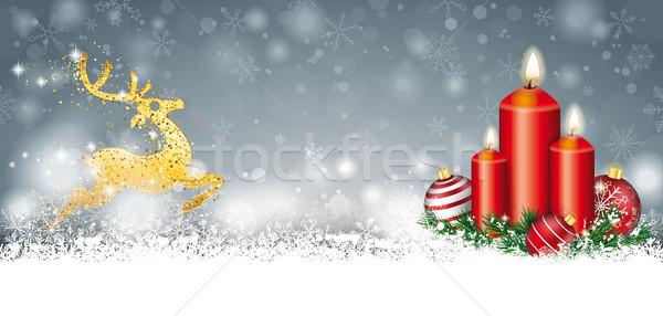 Gris Navidad nieve velas dorado reno Foto stock © limbi007