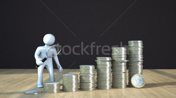 Manikin Loupe Euro Coins Stock photo © limbi007