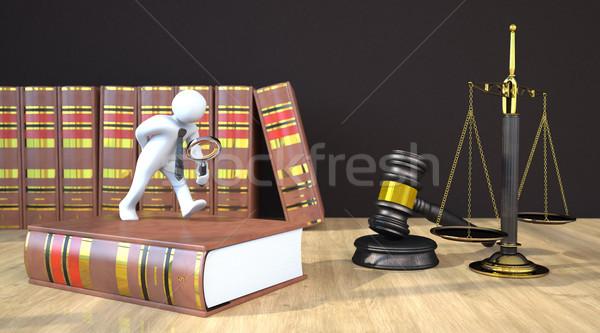 Manikin Loupe Gavel Scale Law Books Stock photo © limbi007