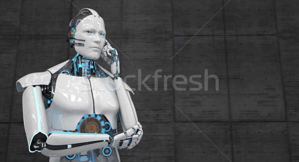 Pense blanche robot 3d illustration internet technologie Photo stock © limbi007