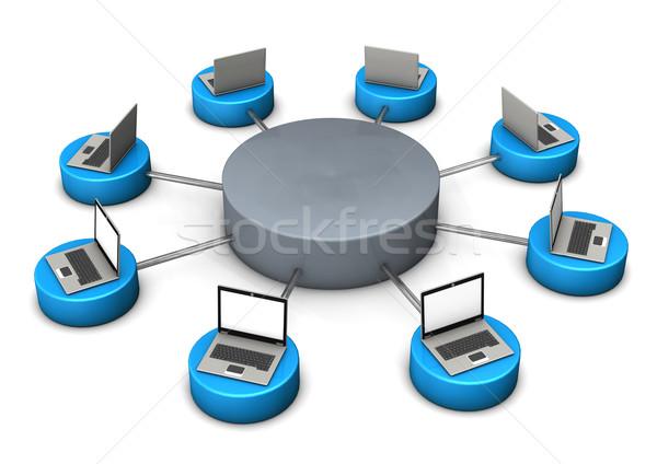 Mobil hálózatok illusztráció laptopok jegyzetfüzetek fehér Stock fotó © limbi007