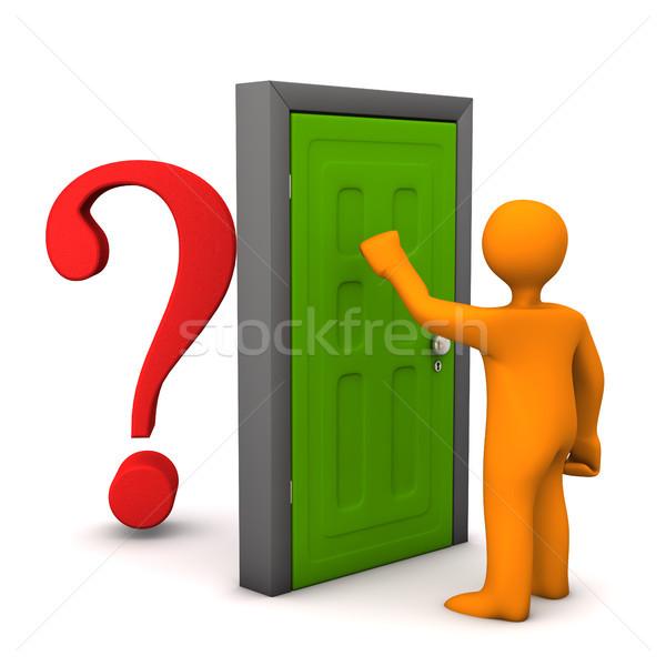 Ajtó kérdés narancs rajzfilmfigura piros kérdőjel Stock fotó © limbi007