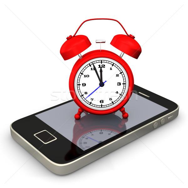 Smartphone Rood witte telefoon internet klok Stockfoto © limbi007