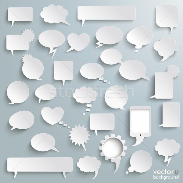 Stock photo: Big Set Paper Communication Bubbles Shadows PiAd