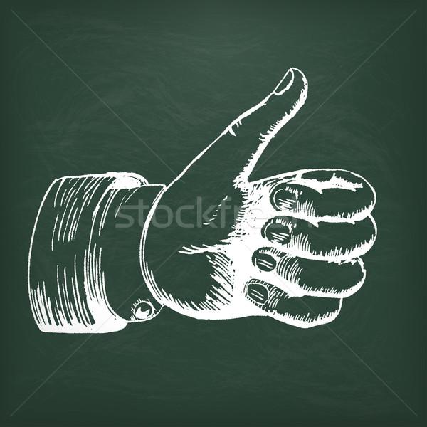 Blackboard Hand Thumbs Up Stock photo © limbi007