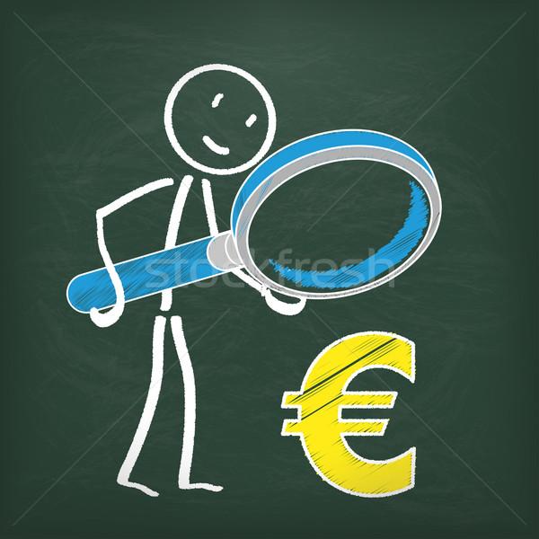 Blackboard Stickman Loupe Euro Stock photo © limbi007