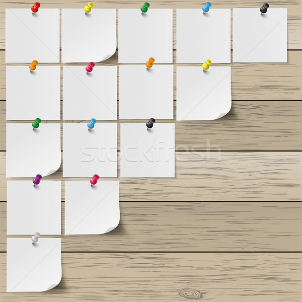 Grey Stickers Colored Pins Wooden Board Stock photo © limbi007