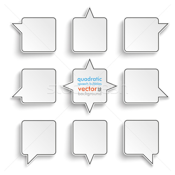 9 Quadratic Speech Bubbles White Background Stock photo © limbi007
