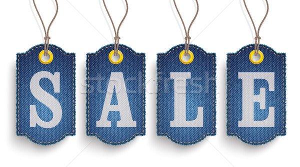 4 Classic Frayed Sale Jeans Price Stickers SH Stock photo © limbi007