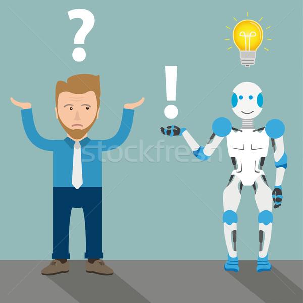 ストックフォト: ビジネスマン · ロボット · 漫画 · 質問 · 電球