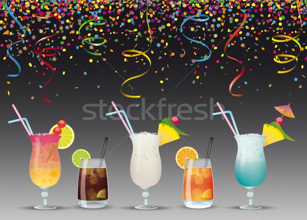 Confettis cocktails nuit sombre eps Photo stock © limbi007