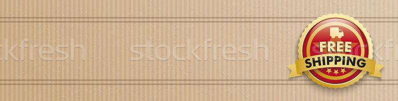 Rood knop gratis verzending karton Stockfoto © limbi007