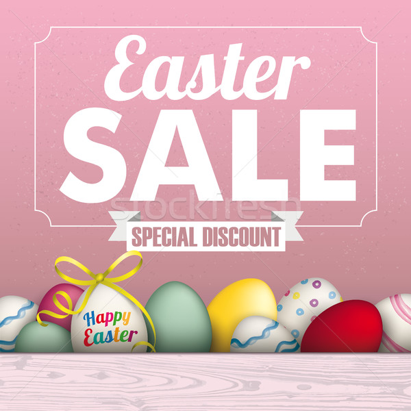 Easter Eggs Sale Frame Ribbon Stock photo © limbi007