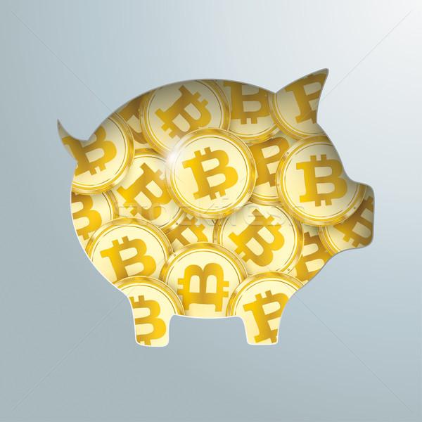 Stock fotó: Persely · arany · terv · és · bitcoin · érmék