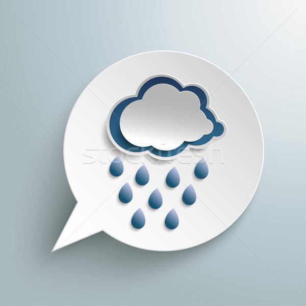 Papír szövegbuborék időjárás ikon felhő eső Stock fotó © limbi007