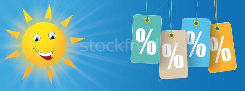 Sun Smiley Price Stickers Percent Header Stock photo © limbi007