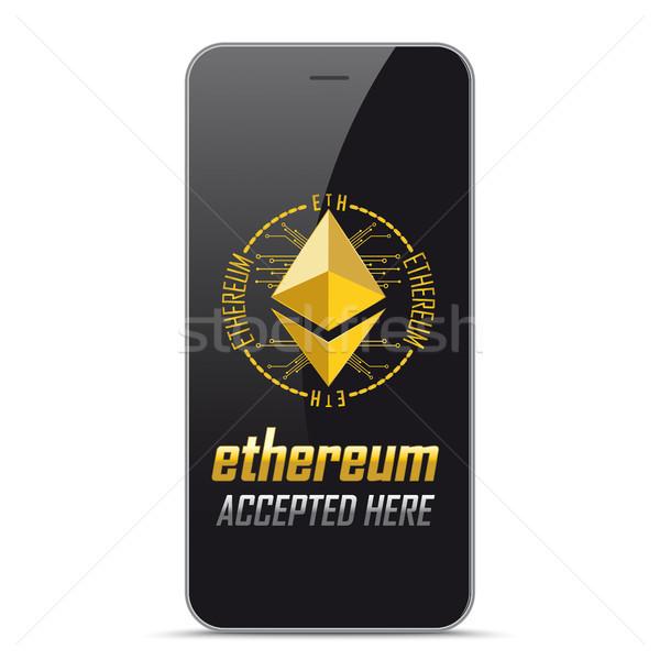 Black Smartphone Ethereum Accepted Here Stock photo © limbi007